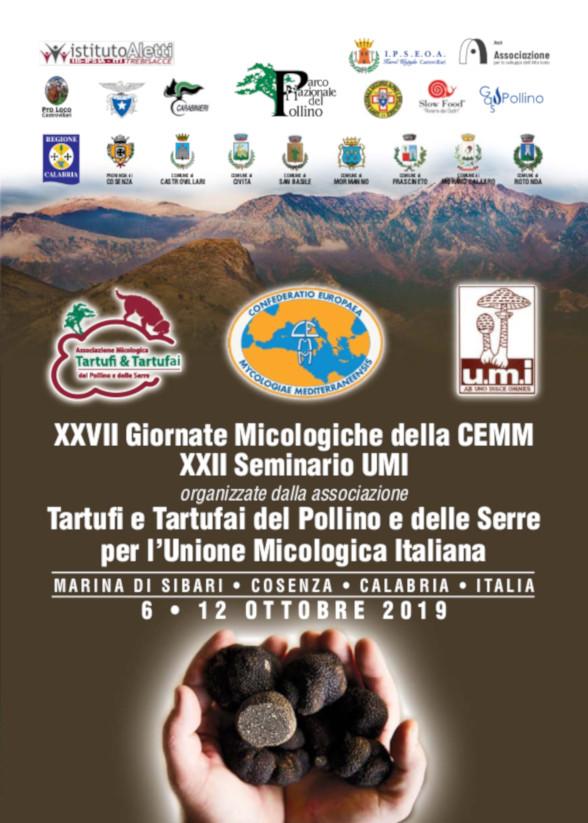 XXVII Giornate Micologiche della CEMM organizzate dall'associazione Tartufi e Tartufai del Pollino e delle Serre per l'Unione Micologica Italiana Marina di Sibari Cosenza Calabria Italia 6-12 ottobre 2019